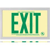 Rigid Plastic `Green' Exit Sign Inside Silver-Colored Brushed Aluminum Frame