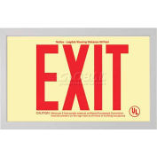 Rigid Plastic `Red' Exit Sign Inside Silver-Colored Brushed Aluminum Frame