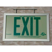 Double-Sided Rigid Plastic `Green' Exit Sign Inside Silver-Colored Brushed Aluminum Frame