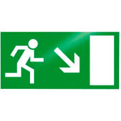 """Photoluminescent """"Man Right Down"""" Peel-And-Stick Self-Adhesive Sign"""