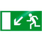 """Photoluminescent """"Man Left Down"""" Peel-And-Stick Self-Adhesive Sign"""