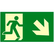 "Photoluminescent ""Man Right/ Arrow Right Down"" NYC Mea-Listed Aluminum Sign"