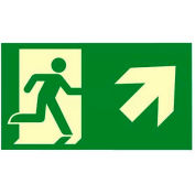 "Photoluminescent ""Man Right/ Arrow Up"" NYC Mea-Listed Aluminum Sign"