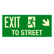 "Photoluminescent Exit To Street ""Right Down"" NYC Mea-Listed Aluminum Sign"