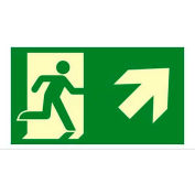 """Photoluminescent Exit """"Man Right/Arrow Right Up"""" NYC Mea-Listed Aluminum Sign"""