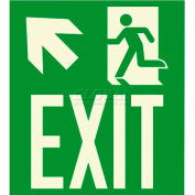 "Photoluminescent Exit ""Man Left/Arrow Left Up"" NYC Mea-Listed Aluminum Sign"