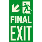 "Photoluminescent Final Exit ""Man Left/Arrow Left Down"" NYC Mea-Listed Aluminum Sign"
