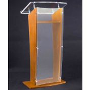 Amplivox Clear Acrylic and Wood Floor Lectern H-Style with Shelf - Medium Oak
