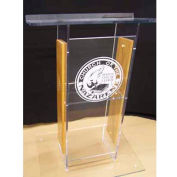 Amplivox Clear Acrylic and Wood Panel Floor Lectern H-Style with Shelf (No Logo)- Medium Oak