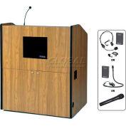 UHF Wireless Multimedia Smart Podium - Medium Oak