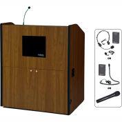 UHF Wireless Multimedia Smart Podium - Walnut