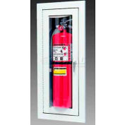 "Loma Extinguisher Cabinet, Full Bubble W/Catch, Semi-Recessed, Steel, 9""L x 24""H x 4""D"