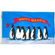 3X5 Ft. 100% Nylon Happy Holidays Penguins Flag