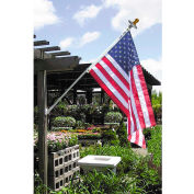 Annin Mansion White Spinning Flag Pole with 3'x 5' Nylon U.S. Flag and Solar Light Set