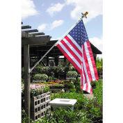 Annin Mansion White Spinning Flag Pole with 3'x 5' Nylon U.S. Flag and Solar Light Set