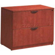 "Stellar 2-Drawer Lateral File with Finished Top, 35""W x 21-1/2""D x 30""H, Warm Cherry"