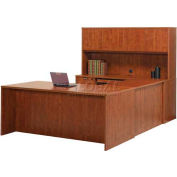 "Stellar U-Shaped Desk with Wood Doors Hutch (Reversible), 66""W x 108""D x 30""H, Warm Cherry"