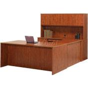"Stellar U-Shaped Desk with Wood Doors Hutch (Reversible), 72""W x 108""D x 30""H, Warm Cherry"