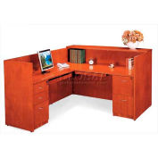 "York L-Shaped Reception Desk with Pedestals (Reversible), 72""W x 84""D x 42""H, Light Cherry"