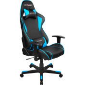 DXRacer® Office & Gaming Hi-Back Chair, F-series, Black & Blue Polyurethane