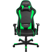DXRacer® Office & Gaming Hi-Back Chair, F-series, Black & Green Polyurethane