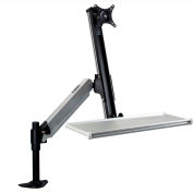 Dyconn Sit Stand Desk Mounted Work Station Mount with Foldable Keyboard Tray