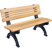 Polly Products Cambridge 4 Ft. Backed Bench, Brown Bench/Black Frame