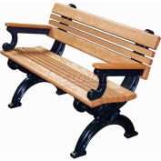 Polly Products Cambridge 4 Ft. Backed Bench with Arms, Cedar Bench/Black Frame