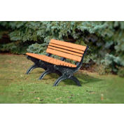 Polly Products Cambridge 6 Ft. Backed Bench, Cedar Bench/Black Frame