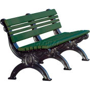 Polly Products Cambridge 6 Ft. Backed Bench, Green Bench/Black Frame