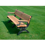Polly Products Cambridge 6 Ft. Backed Bench with Arms, Cedar Bench/Black Frame