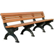 Polly Products Cambridge 8 Ft. Backed Bench, Brown Bench/Black Frame