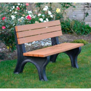 Polly Products Deluxe 4 Ft. Backed Bench, Brown Bench/Black Frame