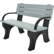 Polly Products Deluxe 4 Ft. Backed Bench with Arms, Cedar Bench/Black Frame