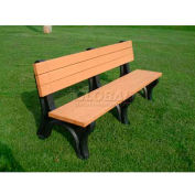 Polly Products Deluxe 6 Ft. Backed Bench, Cedar Bench/Black Frame