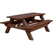 Polly Products Deluxe 6' Picnic Table, Brown Top & Bench/Brown Frame