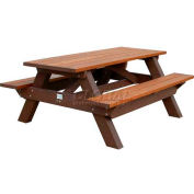 Polly Products Deluxe 6' Picnic Table, Cedar Top & Bench/Brown Frame