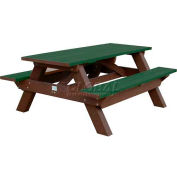 Polly Products Deluxe 6' Picnic Table, Green Top & Bench/Brown Frame