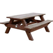 Polly Products Deluxe 6' Picnic Table, Weathered Top & Bench/Brown Frame