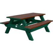 Polly Products Deluxe 6' Picnic Table, Brown Top & Bench/Green Frame