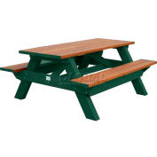 Polly Products Deluxe 6' Picnic Table, Cedar Top & Bench/Green Frame