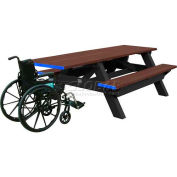 Polly Products Deluxe 8' Picnic Table ADA Compliant, Brown Top & Bench/Black Frame