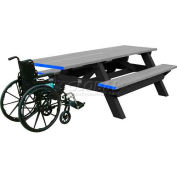 Polly Products Deluxe 8' Picnic Table ADA Compliant, Gray Top & Bench/Black Frame