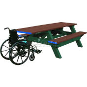 Polly Products Deluxe 8' Picnic Table ADA Compliant, Brown Top & Bench/Green Frame