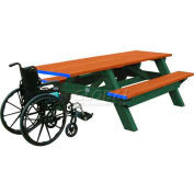 Polly Products Deluxe 8' Picnic Table ADA Compliant, Cedar Top & Bench/Green Frame