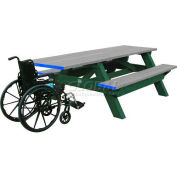 Polly Products Deluxe 8' Picnic Table ADA Compliant, Gray Top & Bench/Green Frame