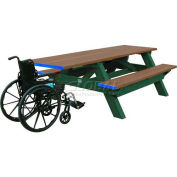 Polly Products Deluxe 8' Picnic Table ADA Compliant, Weathered Top & Bench/Green Frame