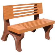 Polly Products Elite 4 Ft. Backed Bench, Brown Bench/Brown Frame
