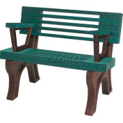 Polly Products Elite 4 Ft. Backed Bench with Arms, Brown Bench/Brown Frame