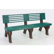 Polly Products Elite 6 Ft. Backed Bench, Green Bench/Brown Frame